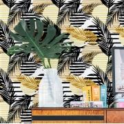 Papel de Parede Floral Folhagens Desenhadas Pretas e Amarelo