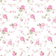 Papel de Parede Floral Galhos e Rosas Fundo Branco