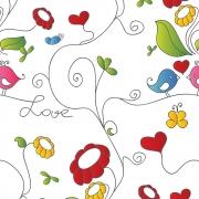 Papel de Parede Floral Jardim Com Pássaros