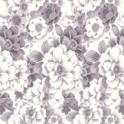 Papel de Parede Floral Mar de Rosas Brancas e Cinza
