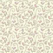 Papel de Parede Floral Marrom Com Passarinhos