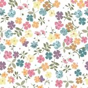 Papel de Parede Floral Mini Colorido Fundo Branco