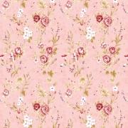Papel de Parede Floral Mini Rosas No Fundo Rosa