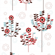 Papel de Parede Floral Oriental Vermelho e Azul
