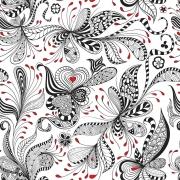 Papel de Parede Floral Preto e Vermelho