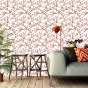 Papel de Parede Floral Primavera Rosa