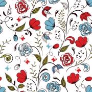 Papel de Parede Floral Primavera Vermelho e Azul