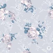 Papel de Parede Floral Rosa e Azul Claro