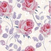Papel de Parede Floral Rosa E Galhos Lilás