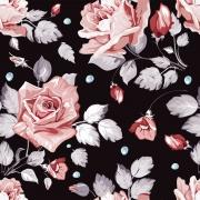 Papel de Parede Floral Rosa Fundo Preto