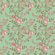Papel de Parede Floral Rosa Jardim Verde