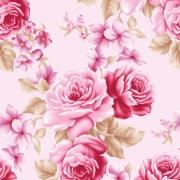 Papel de Parede Floral Rosa Vintage