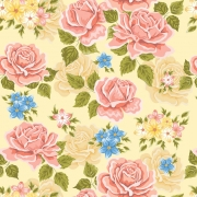 Papel de Parede Floral Rosas, Azul e Amarelo com Ramos