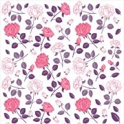 Papel de Parede Floral Rosas e Folhagens Lilás