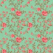 Papel de Parede Floral Rosas e Fundo Verde Água