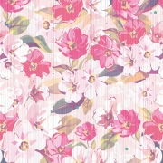 Papel de Parede Floral Rosas e Listras