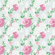 Papel de Parede Floral Rosas e Ramos Verdes Pintados