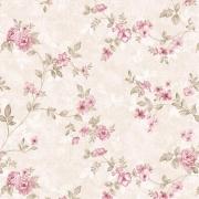 Papel de Parede Floral Rosas Fundo Bege Manchado