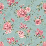 Papel de Parede Floral Rosas Fundo Verde