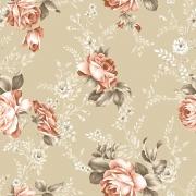 Papel de Parede Floral Rose e Bege