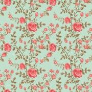 Papel de Parede Floral Roseira Com Fundo Verde