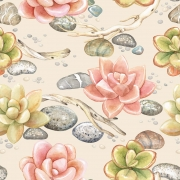 Papel de Parede Floral Suculentas Coloridas