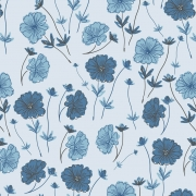 Papel de Parede Floral Tons de Azul Desenho