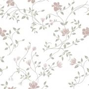 Papel de Parede Floral Tulipa Rosa Fundo Branco
