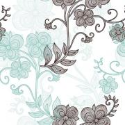 Papel de Parede Floral Verde Água e Marrom