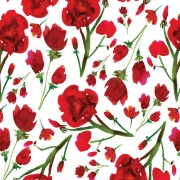 Papel de Parede Floral Vermelho Pintado