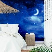 Papel de Parede Foto Mural Céu Noturno Estrelado com Lua