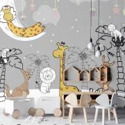 Papel de Parede Foto Mural Infantil Animais, Lua, Estrelas e Nuvens