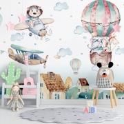 Papel de Parede Foto Mural Infantil Avião, Balão, Nuvem, Girafa, Elefante e Leão