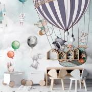 Papel de Parede Foto Mural Infantil Coelho, Coala, Guaxinim e Balão