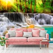 Papel de Parede Foto Mural Paisagem Cachoeira Pedras e Árvores