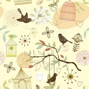 Papel de Parede Gaiolas Coloridas e Pássaros no Fundo Creme