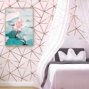 Papel De Parede Geométrico Fendi Zara Gold Fundo Tons de Rosa