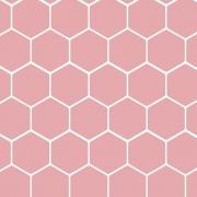 Papel de Parede Geométrico Hexágono Rosa