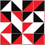 Papel de Parede Geométrico Preto Vermelho e Branco