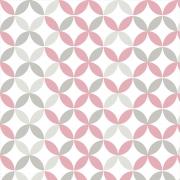 Papel de Parede Geométrico Rosa e Cinza