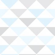 Papel de Parede Geométrico Triângulo Azul Cinza Branco Tons Claros