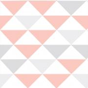 Papel de Parede Geométrico Triângulo Rosa e Cinza Claro
