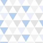 Papel de Parede Geométrico Triângulos Azul e Cinza