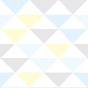 Papel de Parede Geométrico Triângulos Azul Lilás e Amarelo