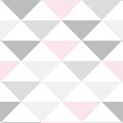 Papel de Parede Geométrico Triângulos Cinza Rosa Cores Claras