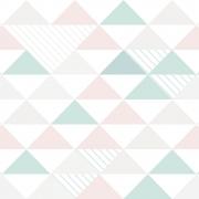 Papel de Parede Geométrico Triângulos Cinza Rosa e Verde