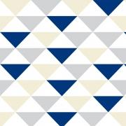 Papel de Parede Geométrico Triângulos Creme Cinza e Azul