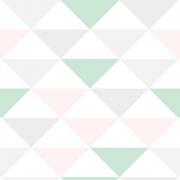 Papel de Parede Geométrico Triângulos Lilás e Verde