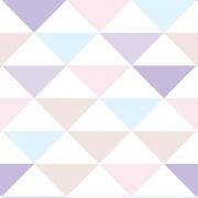 Papel de Parede Geométrico Triângulos Lilás Rosa e Verde