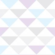 Papel de Parede Geométrico Triângulos Verde Lilás e Rosa